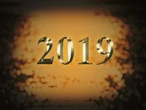 Ano novo do ouro 2019 luxuosos no fundo do bokeh do ouro Ano novo feliz 2019 fotos de stock