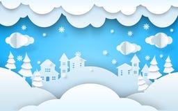 Ano novo do xmas da paisagem do inverno do papercut do vetor fotografia de stock royalty free