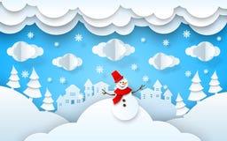 Ano novo do xmas da paisagem do inverno do papercut do vetor imagem de stock