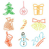 Ano novo dos ícones Fotos de Stock Royalty Free