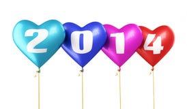 Ano novo 2014 dos balões coloridos do coração Fotos de Stock Royalty Free
