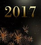 Ano novo dos fogos-de-artifício 2017 Imagem de Stock