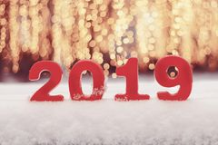 Ano novo dos números 2019 na neve imagem de stock royalty free