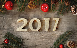 Ano novo 2017 dourado Imagens de Stock Royalty Free