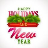 Ano novo e boas festas projeto do cartaz das celebrações Foto de Stock