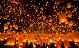 Ano novo e festival de Yeepeng em Tailândia Fotografia de Stock