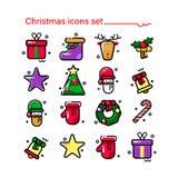 Ano novo e Natal Estilo moderno, ícones lineares inverno feliz festivo, imagens elegantes de imagens do Natal Grupo de ícone do v Fotos de Stock Royalty Free