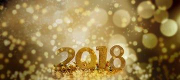 Ano novo 2018 em luzes do borrão Fotografia de Stock Royalty Free