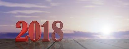 Ano novo 2018 em um assoalho de madeira, céu no fundo do nascer do sol ilustração 3D ilustração royalty free