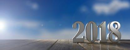 Ano novo 2018 em um assoalho de madeira, fundo do céu azul ilustração 3D ilustração do vetor