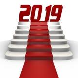 Ano novo 2019 em um tapete vermelho - uma imagem 3d imagens de stock