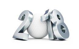 Ano novo em uma ilustração branca do fundo 3D, do golfe 2018 rendição 3D Foto de Stock