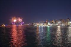 Ano novo Eve Fireworks de Boston 2018, EUA fotos de stock royalty free