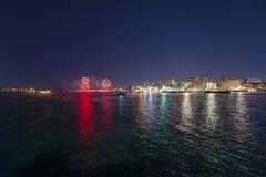 Ano novo Eve Fireworks de Boston 2018, EUA fotografia de stock royalty free