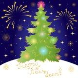 Ano novo feliz! Árvore de abeto verde, fogos-de-artifício dourados e flocos de neve Shinning no céu noturno Aperfeiçoe para seu p ilustração do vetor