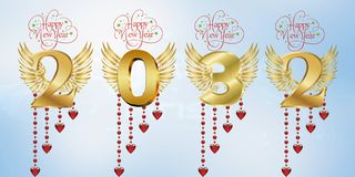 Ano novo feliz 2032 imagens de stock royalty free