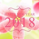Ano novo feliz 2018 anos no fundo bonito do borrão da flor Pi Imagens de Stock Royalty Free