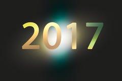 Ano novo feliz 2017 anos no fundo festivo do borrão abstrato Imagens de Stock