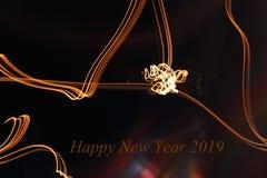 Ano novo feliz 2019 - as cores abstratas iluminam-se Fotografia de Stock Royalty Free