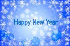 Ano novo feliz Bokeh azul 3d rendem Fotos de Stock Royalty Free