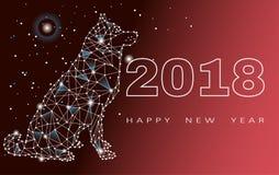 Ano novo feliz, cão de 2018 anos, zodíaco do projeto, cartaz, cartão, para bandeiras, cartazes, folhetos, folhetos, lugar para Foto de Stock Royalty Free