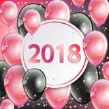 Ano novo feliz 2018 - cartão Imagens de Stock Royalty Free