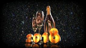 Ano novo feliz Champagne 2018 ilustração royalty free