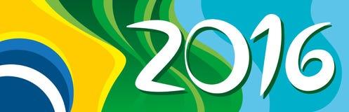 Ano novo feliz com a bandeira bonita de Brasil Imagem de Stock Royalty Free