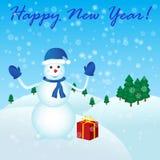 Ano novo feliz com boneco de neve ilustração do vetor