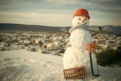 Ano novo feliz com boneco de neve Pares felizes de Snowmans Celebração de Snowmans Feriado e celebração felizes Imagem de Stock Royalty Free