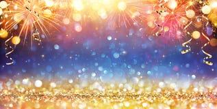 Ano novo feliz com brilho ilustração stock