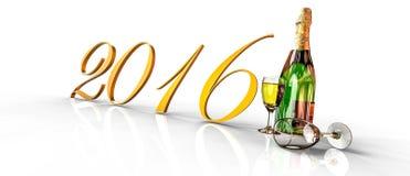 Ano novo feliz 2016 com champanhe Fotos de Stock