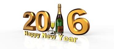 Ano novo feliz 2016 com champanhe Fotografia de Stock Royalty Free