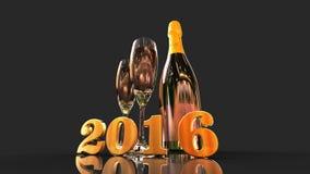 Ano novo feliz 2016 com champanhe Imagens de Stock