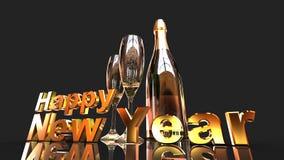 Ano novo feliz com champanhe Foto de Stock