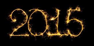 Ano novo feliz - 2015 com chuveirinhos Imagem de Stock Royalty Free