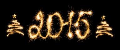 Ano novo feliz - 2015 com chuveirinhos Imagens de Stock Royalty Free