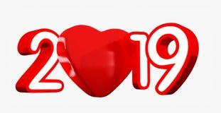 Ano novo feliz 2019 com coração vermelho e números vermelhos, ilustração 3D, isolada no branco ilustração do vetor
