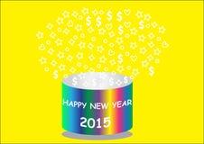 Ano novo feliz com a cubeta colorida redonda Imagens de Stock Royalty Free