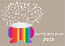 Ano novo feliz com a cubeta dando forma colorida Foto de Stock