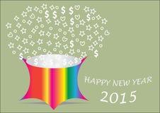 Ano novo feliz com a cubeta dando forma colorida Imagem de Stock Royalty Free
