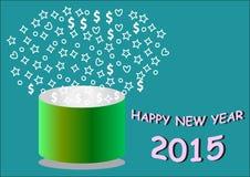 Ano novo feliz com a cubeta verde redonda Foto de Stock