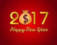 Ano novo feliz 2017 com dinheiro do dólar Imagens de Stock Royalty Free