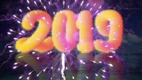 Ano novo feliz 2019 com efeito da luz filme