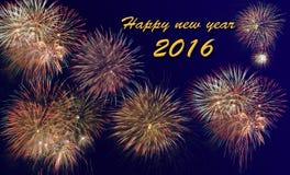 Ano novo feliz 2016 com fogo de artifício Fotos de Stock Royalty Free