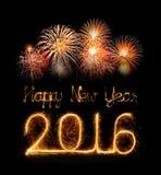Ano novo feliz 2016 com fogo de artifício da faísca Fotos de Stock Royalty Free
