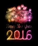 Ano novo feliz 2016 com fogo de artifício da faísca Imagens de Stock Royalty Free