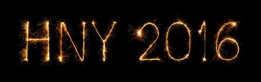 Ano novo feliz 2016 com fogo de artifício da faísca Fotos de Stock