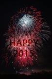 Ano novo feliz 2015 com fogos-de-artifício Fotos de Stock