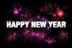 Ano novo feliz com fogos-de-artifício Foto de Stock
